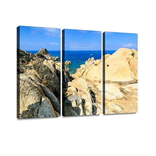 HABEN ARTWORK Moon Valley in Sardinia Island Italy Moon Bay Pictures Print On Canvas Wall Artwork Modern Photography Home Decor Unique Pattern Stretched and Framed 3 Piece