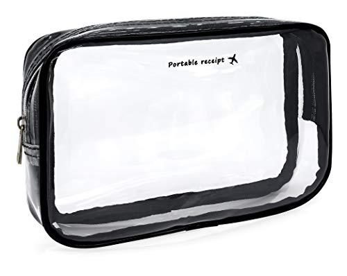 MyGadget Pochette de Voyage en Plastique Transparent pour Avion Bagage Cabine - Trousse Maquillage & Cosmétiques PVC Imperméable - Taille S
