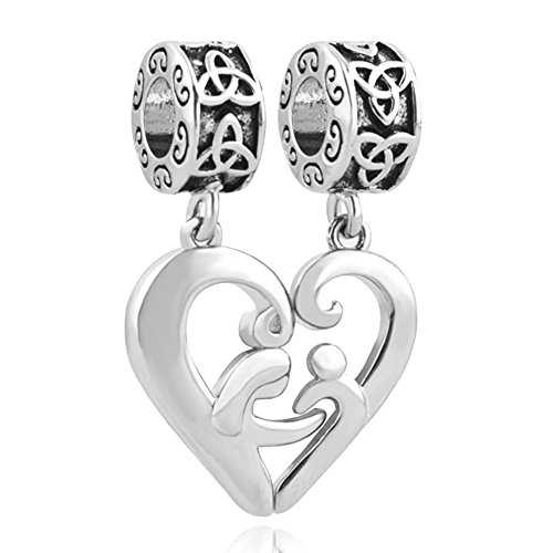 LilyJewelry Mom Mother Daughter Son Charm Love Heart Beads for Chain Bracelet