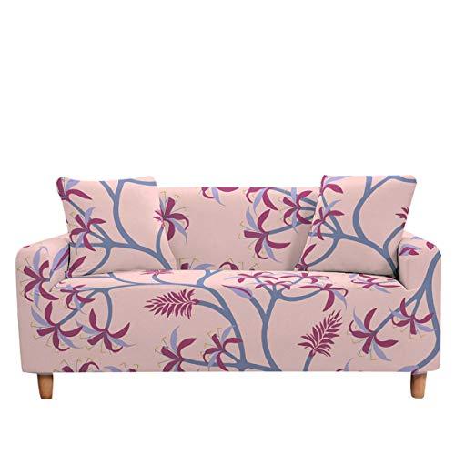 Surwin Funda de Sofá Elástica para Sofá de 1 2 3 4 plazas, 3D Impresión Universal Antideslizante Cubierta de Sofá Cubre Sofá Funda Furniture Protector (Rosa,3 plazas - 190-230cm)