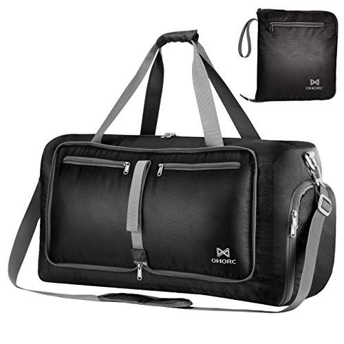 OMORC Duffel Bag Gym Bag Impermeable,Gran Capacidad 60L,Bolsa Plegables,Maleta Muy versátil Resistente al Agua con Correa de Hombro Extraíble Excelente para Viaje y Gimnasio Las Mujeres y los Hombres