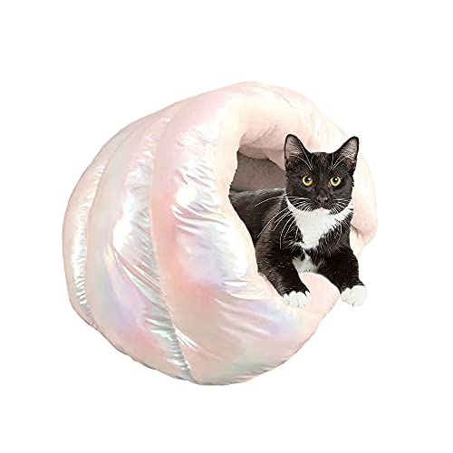 Premium Plush Warming Pet Bed Sofa Cat Cave for Dogs and Cats Round Anti-Anxiety Calming Pillow Small