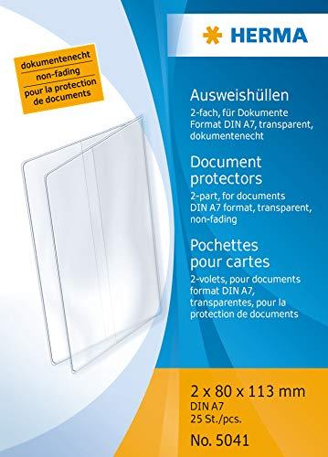HERMA 5041 Ausweishülle Schutzhülle Ausweishalter 2-fach (2x 80 x 113 mm, transparent) geeignet für Dokumente im Format DIN A7, 25 Kartenhüllen