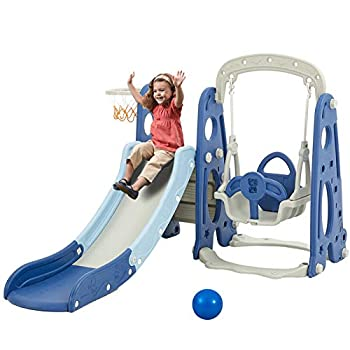 Albott Toddler Slide and Swing Set 4 in 1 Kids Play Climber Slide Playset with Basketball Hoop Extra Long Slide Easy Set Up Baby Slide for Indoor Outdoor Backyard Blue