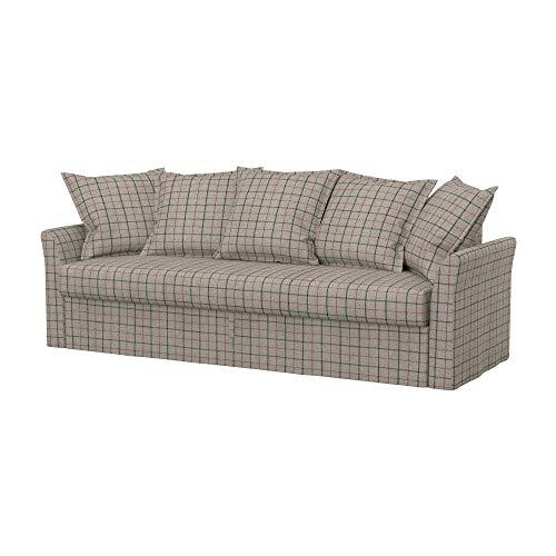 Soferia Funda de Repuesto para IKEA HOLMSUND sofá Cama de 3 plazas, Tela Stewart Grey Check, Gris