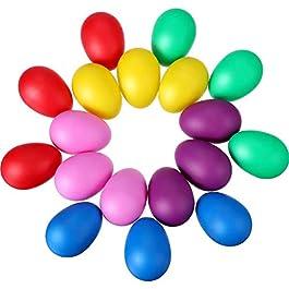 18 Pezzi Uova di Pasqua Colorate Maracas Uova di Plastica Uovo Shaker Set Maracas Uova Shaker per Pa