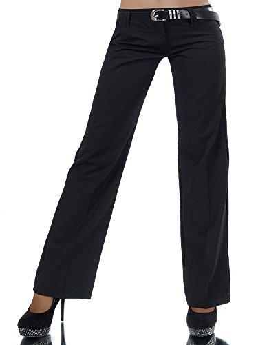 Diva-Jeans L293 Damen Business Stoffhose Elegante Bootcut Hose Classic Schlaghose + Gürtel, Farben:Schwarz, Größen:40 L (Etikett T4)