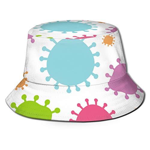 EHECD Background Template with Coronavirus Fisherman's Hat Flat Top Breathable Bucket Hat Unisex
