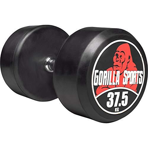 GORILLA SPORTS® Kurzhantel 37,5 kg – Rundhantel mit Beschichtung und ergonomischen Chrom-Griff
