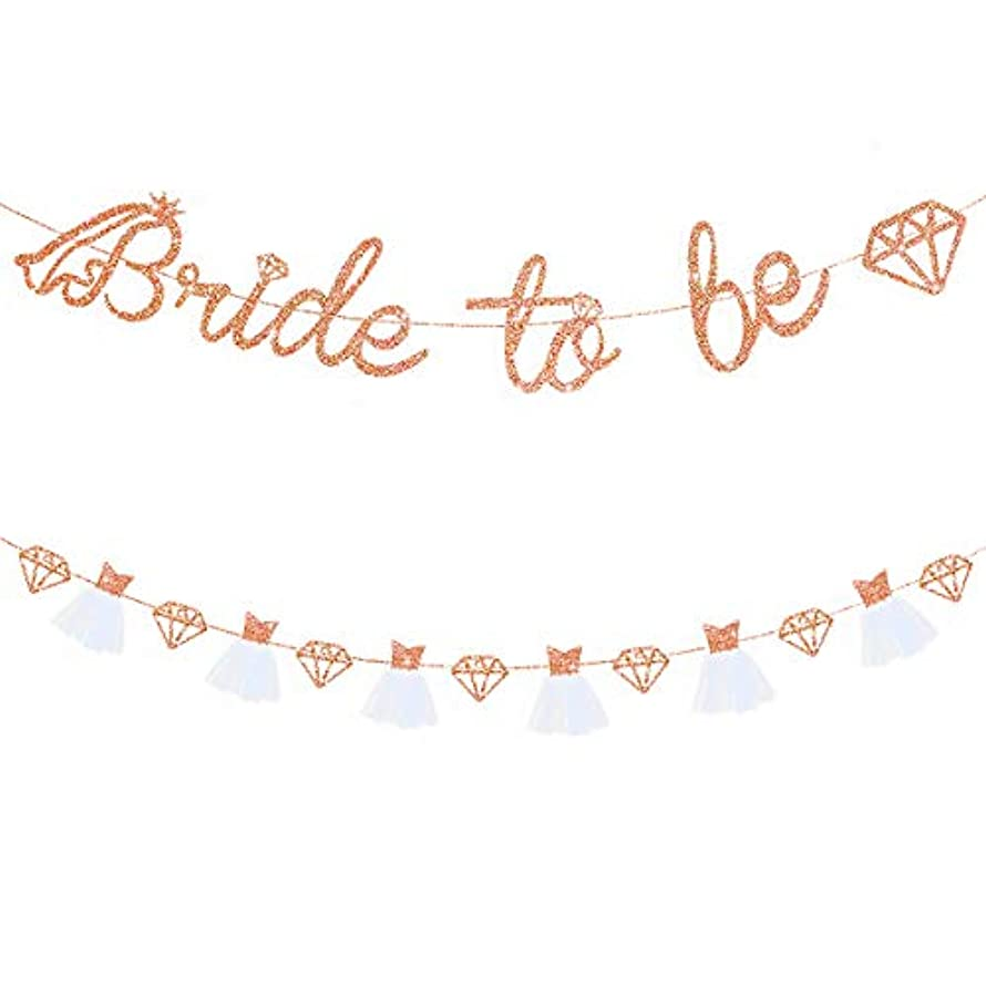 Rose Gold Double Sided Glitter Bride to Be Diamond Banner,3D Wedding Dress Diamond Bride Garland for Bridal Shower Wedding Engagement Bachelorette Party Hen Party Supplies Decorations