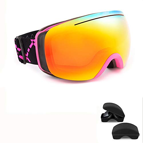 Lorenory Skibril, uv-bescherming, skibril, dames en heren, dubbele lens, sneeuwbril voor volwassenen, skibril, snowboard