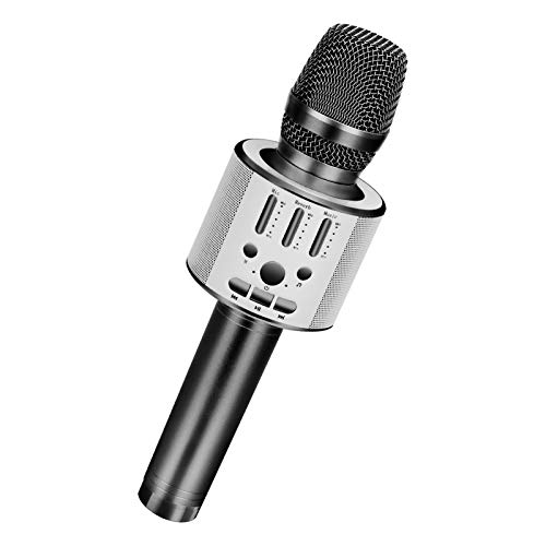 BONAOK Wireless Bluetooth Karaoke Microphone, Portable Handheld Rechargeable Karaoke Machine Speaker with Stereo Sound Christmas Home Birthday Party (Space Gray)