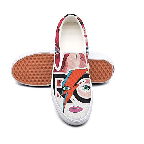 MEPOI Sneakers for Women David-Bowie-Heroes-Poster- White Asics Walking Shoes