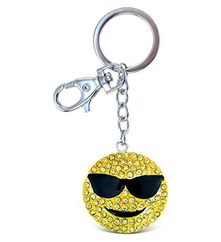 Aqua79 Cool Emotion Keychain - Silver 3D Sparkling Charm Rhinestones Fashionable Stylish Metal Alloy Durable Key Ring Bling Crystal Accessory With Clasp Key Chain, Bag, Purse, Backpack, Handbag