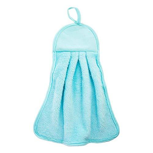 1 Pc Serviette à Main Absorbant l'eau Suspendus Corail Velours bébé Visage Enfants Bol Gant de Toilette Serviette Cuisine Salle de Bain Fournitures de Nettoyage-Bleu__