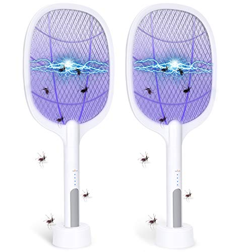 Bug Zapper, 3000Volt Indoor & Outdoor Electric Fly Swatter, Rechargeable Mosquito Killer Racket for Home, Bedroom, Kitchen, Office, Backyard, Patio (2 Packs)