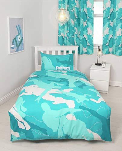 Fortnite Offizieller Turko-Bettbezug für Einzelbett, Tupf-Design, wendbar, zweiseitig, blau, Bettbezug mit passendem Kissenbezug