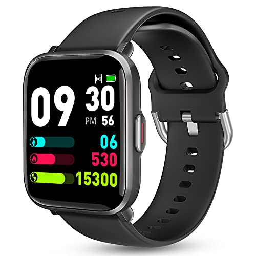 Smart Watch for Android Phones iOS, KALINCO Swim Watch with Heart Rate Monitor Pedometer Calorie Counter, 5ATM Waterproof Fitness Tracker with Sleep Monitor Compass, Smartwatch for Men Women