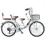 Bicicleta De Ciudad para Padres E Hijos, Bicicleta Ligera De 24' Y 7 Velocidades para Madres E Hijos con Asiento De Seguridad Two, Adecuada para Paseos Familiares De Madres E Hijos.-2