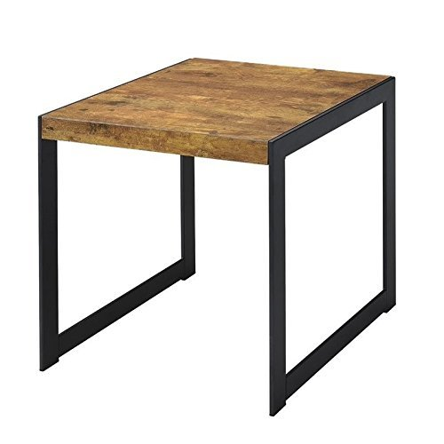 Coaster Home Furnishings End Table with Metal Base Antique Nutmeg and Gunmetal