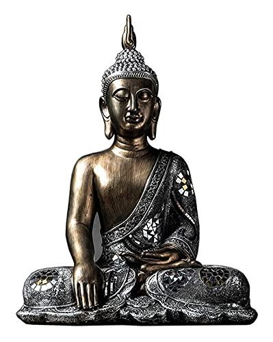 WQQLQX Statue Sitzende Buddha skulptur Thailand Buddha Statue Statue Zen Handwerk Dekoration klein Statue Outdoor Garten innen großer buddhistischer schmuck Skulpturen
