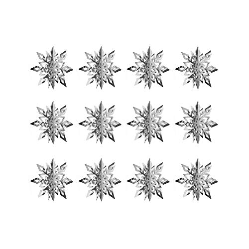 Hanging String Snowflake Decoration Christmas String Stereo 3D Silver for Christmas Winter Holiday New Year Party 12pcs