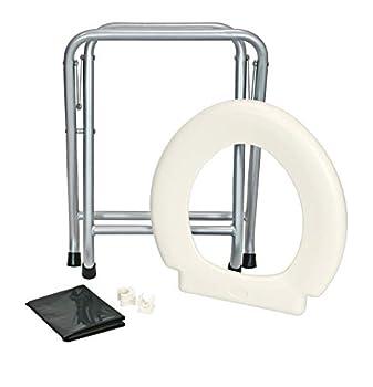 24ocean Toilettes mobiles pliantes avec structure en métal - Pour le camping - Blanc/argenté - Jetables - 6 sacs noirs