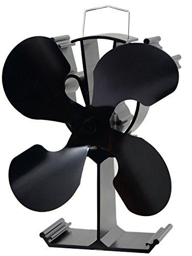 石油/木材暖炉用の4ブレード熱供給式ストーブファン - 環境にやさしい(ブラック)