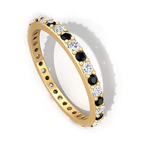 Rosec Jewels 18 quilates oro amarillo round-brilliant-shape black Diamond Round H-I Diamond