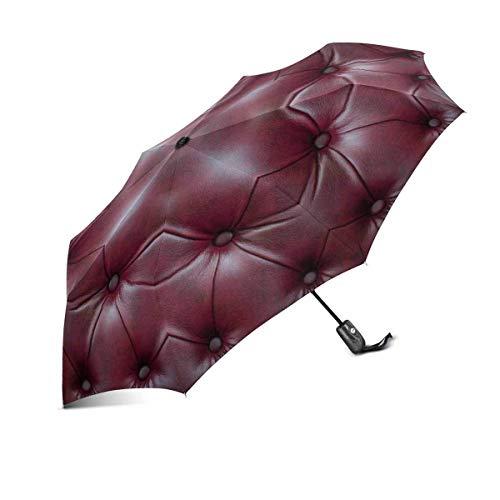 Lustiges Vintage rotes Ledersofa Luxuriöse Kunst Winddichter automatisch zusammenklappbarer Reiseschirm Leichter kompakter Regenschirm zum automatischen Öffnen und Schließen mit UV-Schutz