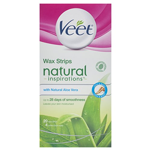 Veet Wax Strips Naturals for Normal Skin - Pack of 20 with Aloe Vera