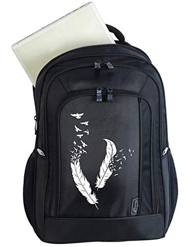 Mein Zwergenland | Ergonomischer Schulrucksack für Teens Compact | Großer Rucksack mit Feder-Design | Rucksack mit Laptoptasche und Sicherheitsfach | Rucksackvolumen 26 Liter | Schwarz | Federn