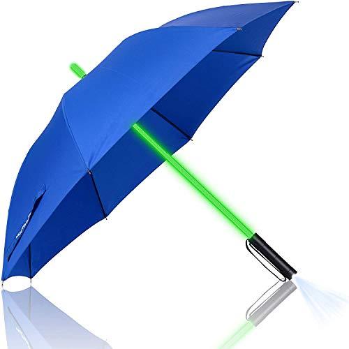 Paraguas con la Linterna LED Paraguas Rectos, luz del LED Moda Paraguas de la Lluvia con 7 Efectos cambiantes del Color, a Prueba de Viento Golf Paraguas,Azul