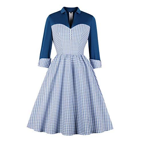 Best Buy! Hunauoo Releases Women Vintage Plaid Dress Celebrity Retro Chic Lapel Patchwork Swing Cock...