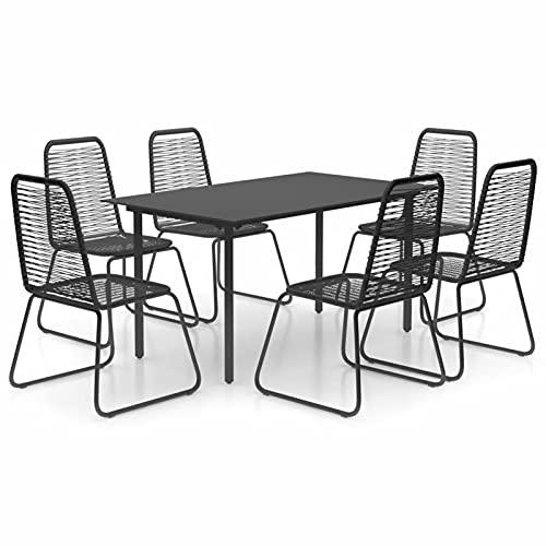 Ksodgun Set de Comedor de jardín de 7 Piezas Muebles Exteriores Conjunto de Sillas Conjunto de terraza PVC ratán Negro