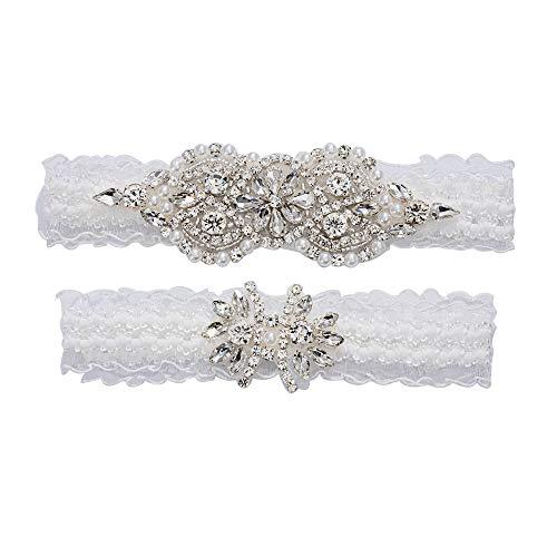 yanstar Wedding Garters for Bride White Stretch Lace Bridal Garter Sets