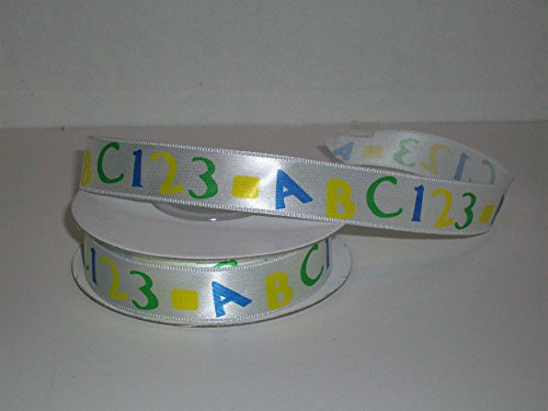 Fun and Colorful ABC and 123 Printed White Satin Ribbon 25 Yards in All for Parties, Gifting and Embellishing