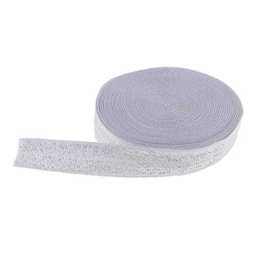 dailymall 5 Meter Schrägband elastisch Glitzer Gummiband Falzband Kantenband zum Nähen auf Haarschmuck, Kleidung, Rock, Hosen - Silber