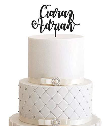 Topper/cake topper/bruiloft/decoratie/gebogen/voornaam/taartdecoratie/taartsteker/