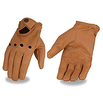 Milwaukee Leather MG7508 Men s Saddle Tan Leather Driving Gloves with Wrist Snap - X-Small