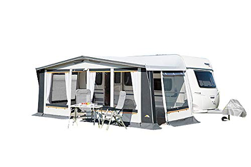 dwt Vorzelt Prinz Plus 240 grau Ganzjahreszelt Wohnwagenvorzelt Caravan 4-Jahreszeiten Dauerstandzelt Ganzzelt, Größenauswahl:Gr. 13 Umlaufmaß 911-940 cm