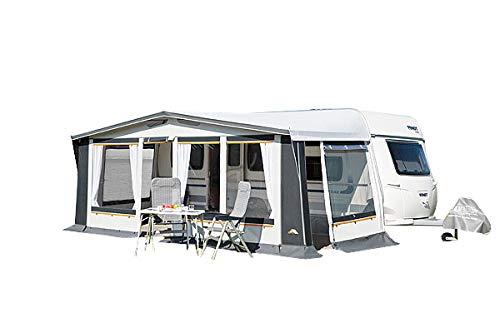 dwt Vorzelt Prinz Plus 240 grau Ganzjahreszelt Wohnwagenvorzelt Caravan 4-Jahreszeiten Dauerstandzelt Ganzzelt, Größenauswahl:Gr. 10 Umlaufmaß 821-850 cm