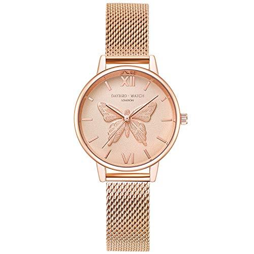 RORIOS Casual Relojes de Mujer Hermoso Mariposa Dial Pulsera Acero Inoxidable Correa Relojes para Dama Regalo de Cumpleaños Reloj de Pulsera