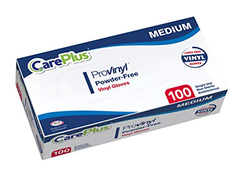 [100 Count] Careplus Disposable Plastic Pro Vinyl Clear Medium Gloves, Allergy, Latex and Powder Free, Great for Home Kitchen Or Office Cleaning, Cooking, 1 Box