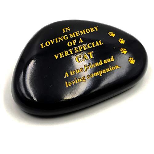 DF Cat Memorial Black & Gold Pebble Garden Ornament Stone/Rock Effect 14.5 x 10 cm