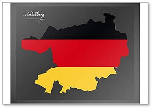 Deutschland Heidelberg Stadtkarte mit Deutschlandflagge Illustration Kühlschrankmagnet