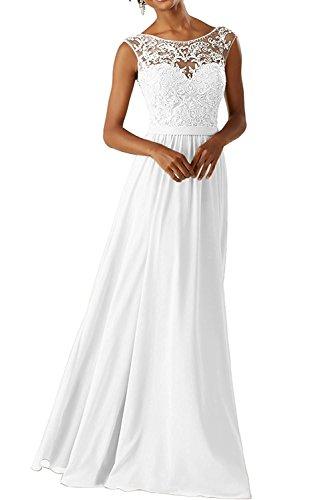 CLLA dress Damen Abendkleider Für Hochzeits Elegant Appliques Ballkleid Lang Cocktailkleider(Weiß,44)