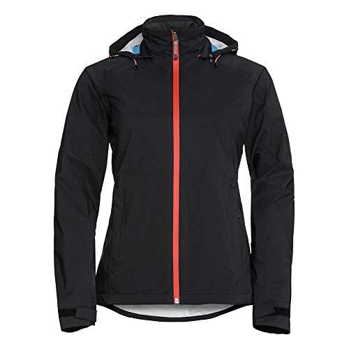 Odlo Damen Regenjacken Jacket 3in1 WATERTON Stretch, black - hot coral, L, 528171
