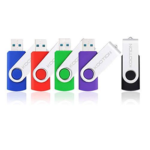 KOOTION 5 Pack 32GB USB 3.0 Flash Drives Swivel Flash Drive 3.0 Thumb Drives USB Drive 3.0 High-Speed Pen Drives 32g Memory Sticks( Mixcolors Black Blue Green Purple Red)