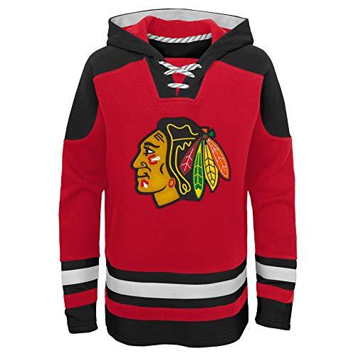 OuterStuff NHL Kinder Hoody Chicago Blackhawks Youth Ageless Must-Have Eishockey Kaputzenpullover Hooded Sweater (M (10/12))